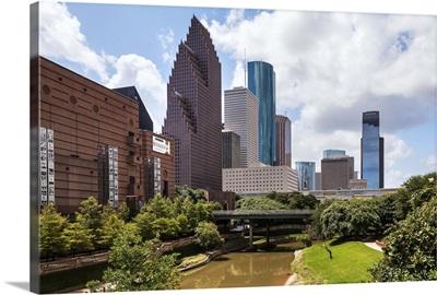 Texas, Houston Theater District seen from Buffalo Bayou bridge