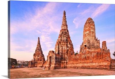 Thailand, Central Thailand, Ayutthaya, Wat Chai Wattanaram At Sunset