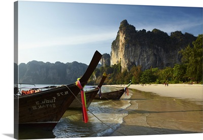 Thailand, Krabi, Longtail boats on Hat Rai Leh West, Railay