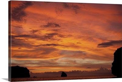 Thailand, Phuket island, Andaman sea, Dive site Three Islets at sunset