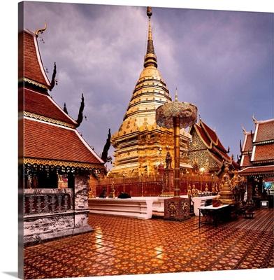 Thailand, Southeast Asia, Chiang Mai, Wat Doi Suthep, Central Chedi & Gold Umbrellas