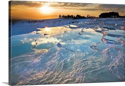 Turkey, Aegean Region, Pamukkale, The Petrified Waterfalls At Sunset