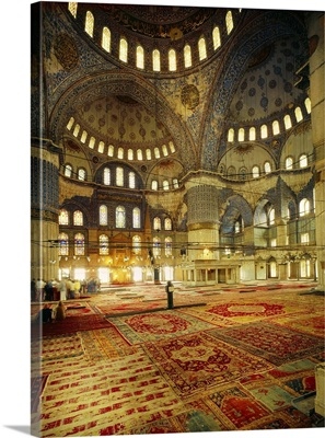 Turkey, Istanbul, Blue Mosque (Sultan Ahmet Mosque), inside view with original carpets