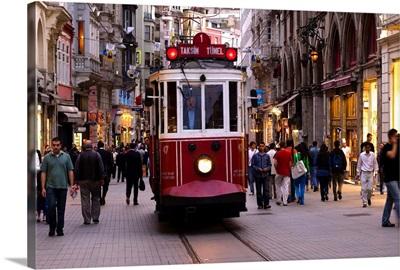 Turkey, Istanbul, The old tram in Istiklal Caddesi in Beyoglu neighborhood