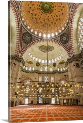 Turkey, Marmara, Istanbul, Solyman Mosque interior