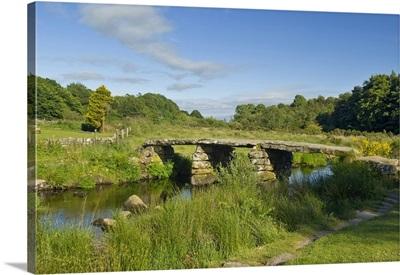 UK, England, Devon, Dartmoor National Park, ancient clapper bridge