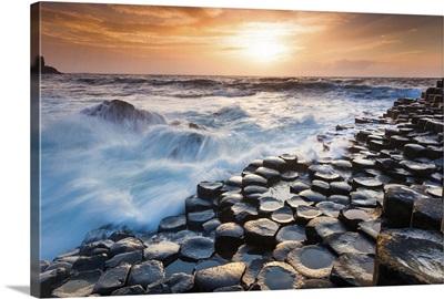 UK, Northern Ireland, Great Britain, Antrim, Giant's Causeway, Basalt columns at sunset