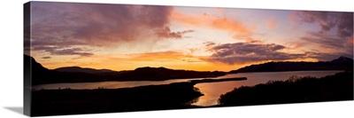 UK, Scotland, Shieldaig, Highlands, Sunset on the upper Loch Torridon