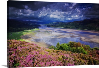 UK, Wales, Barmouth, Mawddach River Estuary, Cader Idris mountain range