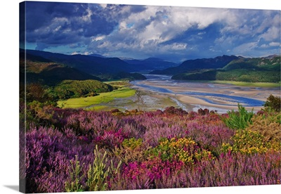UK, Wales, Barmouth, View of the Mawddach River Estuary