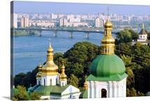 Ukraine, Kiev, St Michael Monastery, bell tower and golden domes