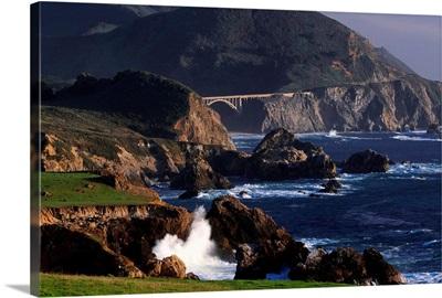 United States, California, Big Sur, Highway 1, view towards Rocky Creek Bridge