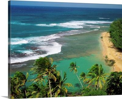 United States, Hawaii, Kauai island, Na Pali coast, Kee beach