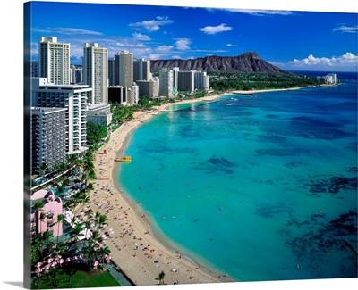 United States, Hawaii, Waikiki beach, Diamond Head and Waikiki Beach