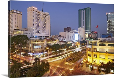 Vietnam, Ho Chi Minh City, Nguyen Hue Boulevard with Caravelle and Hilton hotels