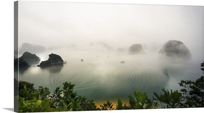 Vietnam, Northeast, Halong Bay, Mist above waters of Halong Bay