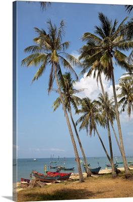 Vietnam, Phu Quoc, Palm trees and traditional colorful boats on long Beach