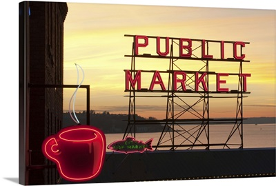 Washington, Seattle, The Public Market sign at Pike Place Market in the evening light