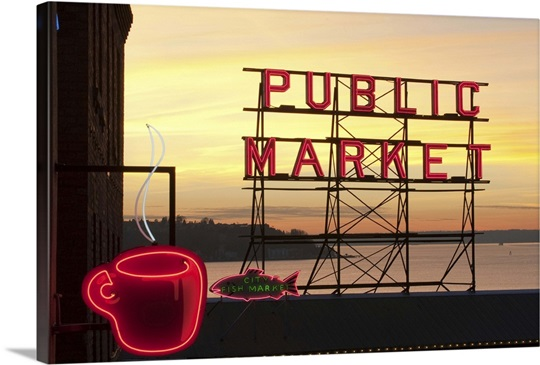 Washington, Seattle, The Public Market sign at Pike Place Market in ...
