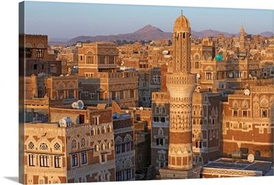 Yemen, North Yemen, Sanaa, Old Town, elevated view