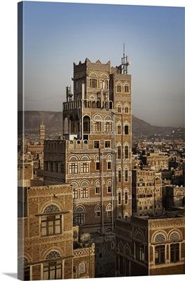 Yemen, North Yemen, Sanaa, Tower House, typical Yemeni architecture