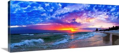Amazing Beach Sunset Panorama-Waves Blue Clouds