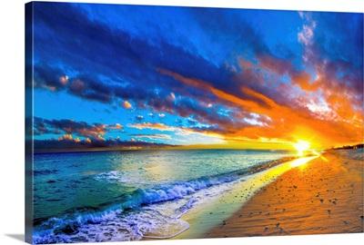 Amazing Orange Red Blue Sunset Beach Waves