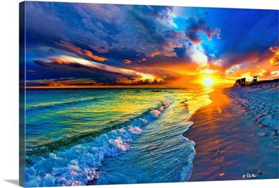 Beach Landscape-Blue Sea Waves-Yellow Sunset Burst