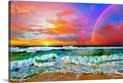 Beach Rainbow Colorful Ocean Wave Sunset