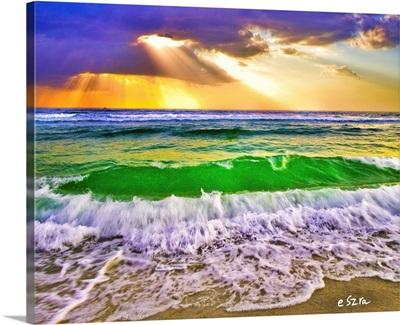 Beach Sunset And Breaking Ocean Waves