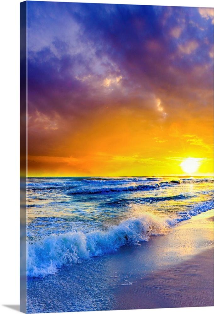 Beach Sunset On Canvas Orange Purple Ocean Sunset Wall Art Canvas Prints Framed Prints Wall Peels Great Big Canvas