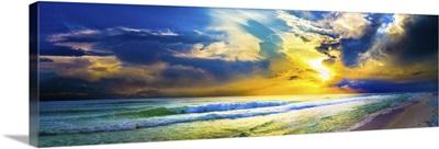 Beach Sunset Panorama Yellow Sunset Sky