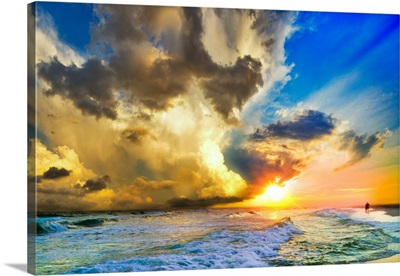 Beautiful Beach Landscape Sunset Blue