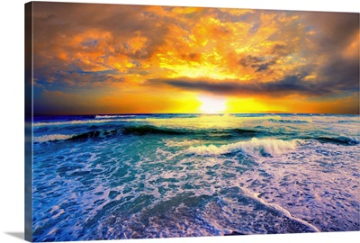 Beautiful Beach Sunset Golden Sunset On The Beach