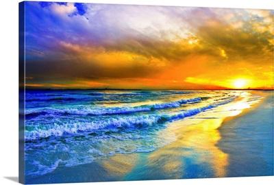 Beautiful Beach Sunset Red Ocean Sunset