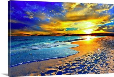 Beautiful Blue Beach Orange Sunset