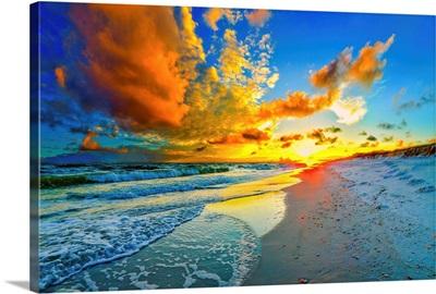 Beautiful Blue Sky Orange Sunset Beach Seascape