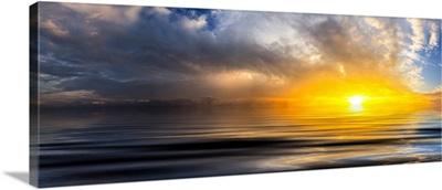 Beautiful Golden Panoramic Sunset Waves