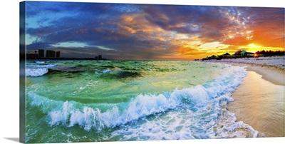 Beautiful Ocean Beach Seascape Panoramic Sunset