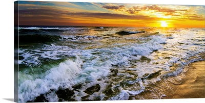 Beautiful Ocean Sunrise Golden Beach Sunset