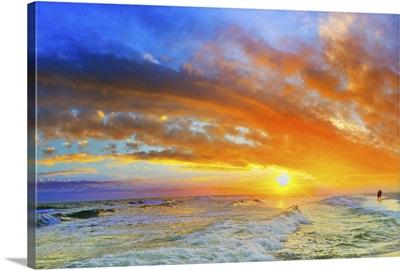 Beautiful Ocean Sunset Waves Red Orange Blue Sky