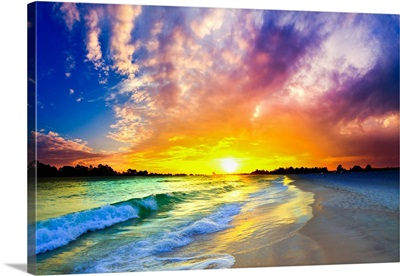 Beautiful Waves Purple Ocean Sunset