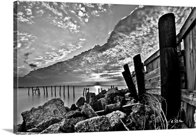 Black And White Broken Sea Wall Sunset Cloud Wave