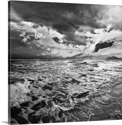 Black And White Photo-Sea Waves Crashing On Shore