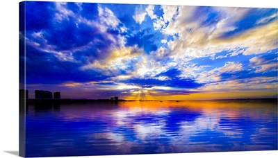 Blue And White Seascape With Sunset Reflection