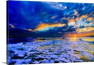 Blue Beach Sunset Dark And Stormy Sea