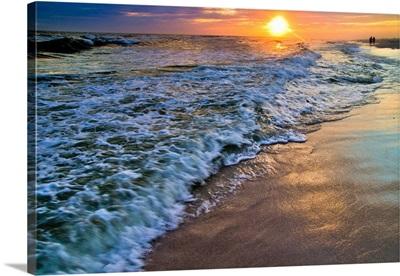 Blue Beach Sunset-Sandy Patterned Shoreline