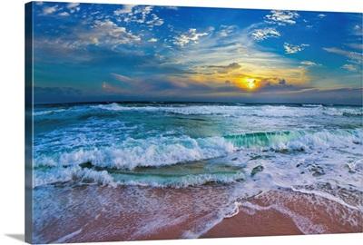 Blue Beach Waves Sunset Tropical Seascape