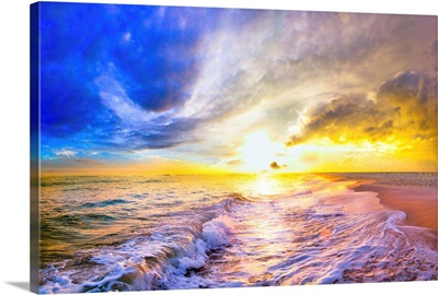 Blue Gold Beach Sunset And Ocean Waves