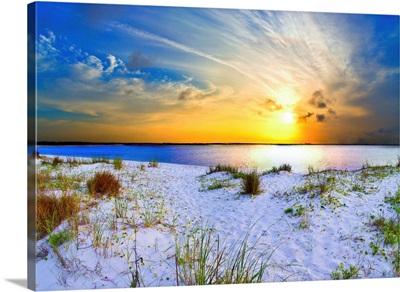Blue Orange Landscape Sunset Sandy Beach